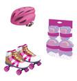 roller skating cute cartoon equipment set vector image