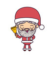 santa claus cartoon holding hand bell face vector image