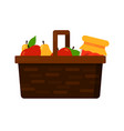 wicker basket with fruits apple and pear and jam vector image