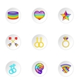 Gays and lesbians icons set cartoon style vector image