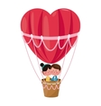 couple in love heart airballoon valentine day vector image
