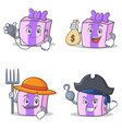 set of gift character with doctor money bag farmer vector image