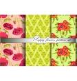 Poppy flowers pattern background set vector image