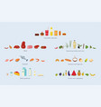 different food groups meat seafood cereals vector image