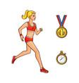 flat girl running golden medal stopwatch vector image