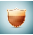 Gold shield emblem icon isolated on blue vector image