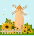 mill in the summer sunflowers provence vector image