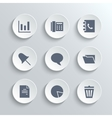 Office icons set - white round buttons vector image