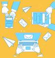 online communication banner line design vector image