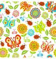 seamless pattern of spring flowers butterflies vector image