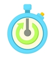 Stopwatch with green arrow icon cartoon style vector image