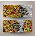 Cartoon mexican food doodles banners vector image