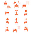 brazier coocking icons set vector image