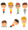 running and work out boys vector image vector image