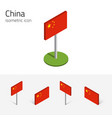 chinese prc flag set of 3d isometric vector image