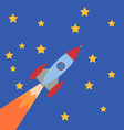 Cartoon Rocket on blue background with stars vector image
