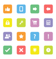 Colorful simple flat icon set 2 on rounded rectang vector image