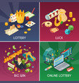 lottery concept icons set vector image