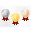 set of gold silver and bronze award medals vector image