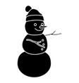 snowman winter cartoon vector image