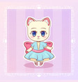 sweet kitty little cat cute kawaii anime cartoon vector image