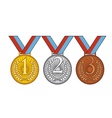 Set of gold silver and bronze medal vector image vector image