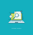 flat design with icons internet search vector image
