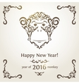 Greeting New Year card with monkey - symbol of the vector image vector image