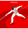 Fencing 2016 Summer Games 3D Isometric vector image