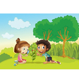 Kids in the park vector image vector image
