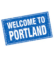Portland blue square grunge welcome to stamp vector image