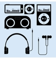 headphones and portable speakers of different vector image