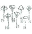 Set of Antique Vintage Keys in grunge style vector image