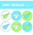 send message line design icon paper plane set vector image