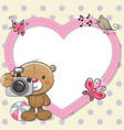teddy bear with a camera and a heart frame vector image