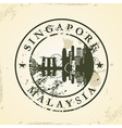 Grunge rubber stamp with Singapore Malaysia vector image
