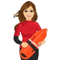 female lifeguard holding a rescue can vector image