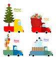 Transport set for Merry Christmas Machine carries vector image