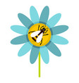 bee on flower icon flat style vector image