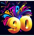 Fireworks Happy Birthday with a gold number 90 vector image