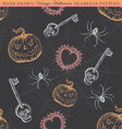 Hand Drawn Vintage Halloween Seamless Pattern vector image