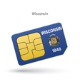 State of Wisconsin phone sim card with flag vector image