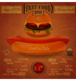 vintage fast food menu - the food on crumpled pape vector image