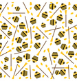 Seamless Pattern with Cake Leaves and Broom vector image vector image
