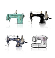 Collection of retro sewing machine sketch for your vector image