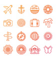 set of linear icons related to summer vector image vector image
