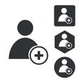 Add user icon set monochrome vector image
