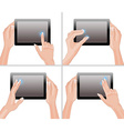 Hands Holding a Tablet Set vector image