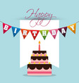 happy birthday cake colored garland card vector image