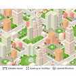 isometric city popular structures vector image